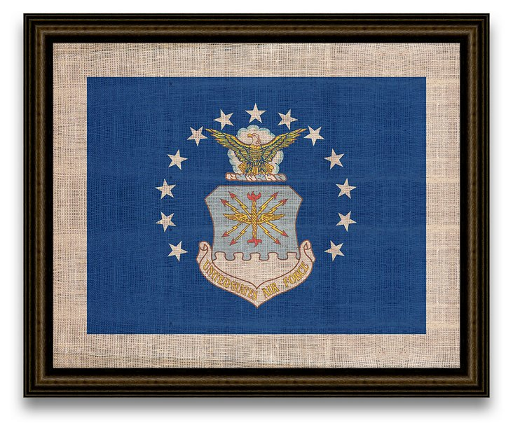 Air Force Flag on Antique Burlap