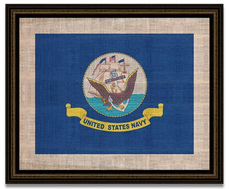 Navy Flag on Antique Burlap