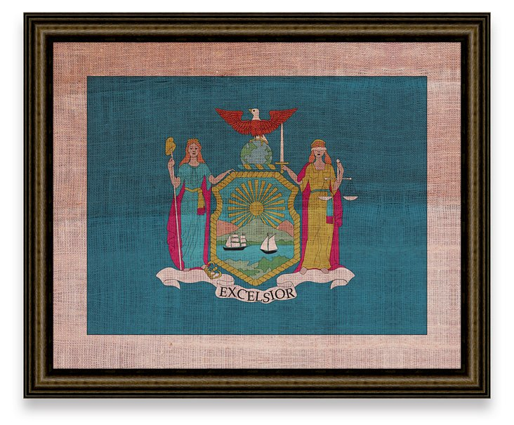 New York Flag on Antique Burlap