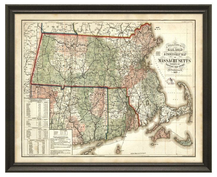 State Map of Massachusetts