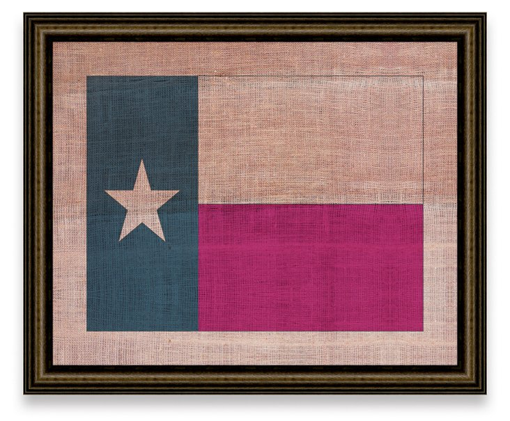 Texas State Flag on Antique Burlap