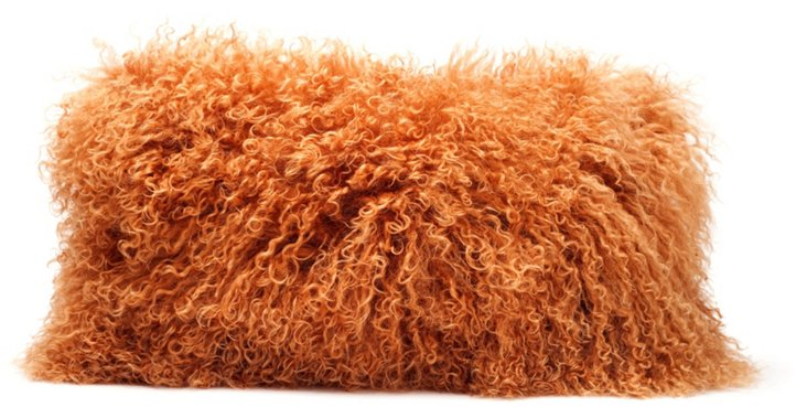 Tibetan 10x18 Lamb Hair Pillow, Orange