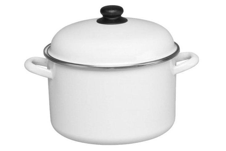 Enamel Steel Stock Pot w/ Lid, White