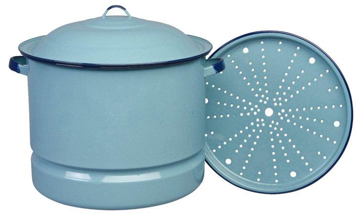 Steamer w/ Lid & Trivet, Blue