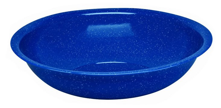 Speckled Enamel Steel Bowl, Blue, 19""
