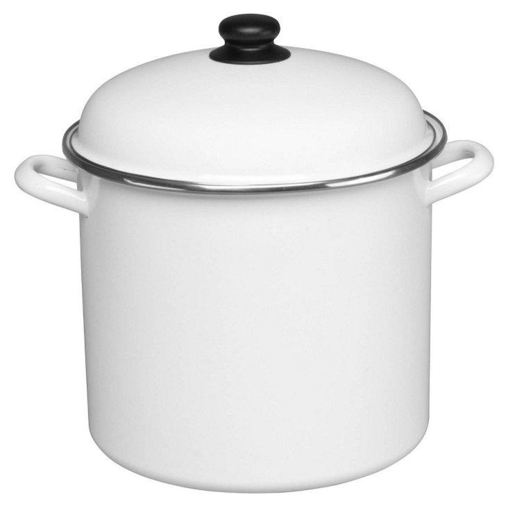 11 Qt Stock Pot w/ Lid, White