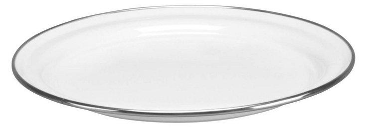 S/4 Enamel Steel Dinner Plates, White