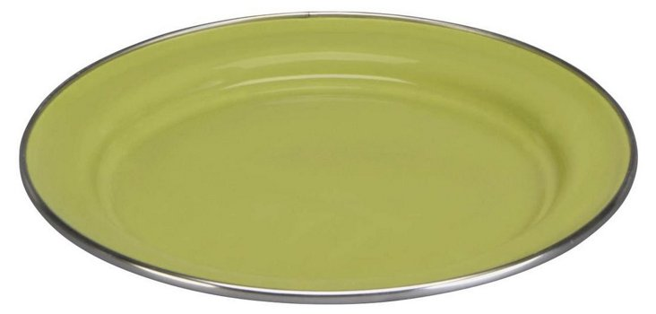 S/4 Enamel Steel Salad Plates, Green