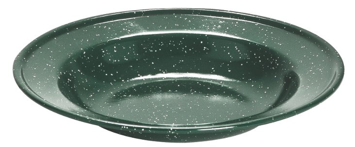 S/4 Large Soup Plates, Green Speckled