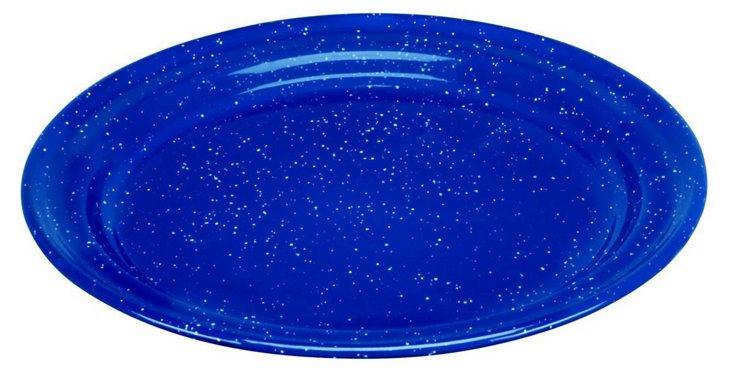 S/4 Speckled Enamel Salad Plates, Blue