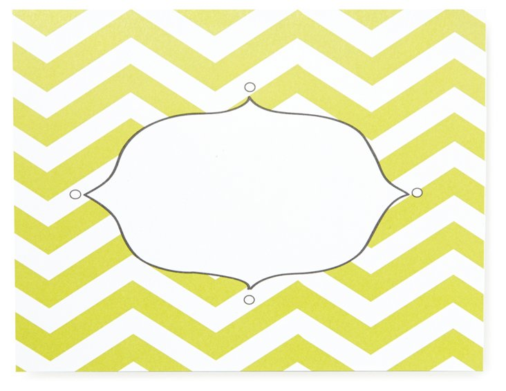 Chartreuse Chevron Folded Notes