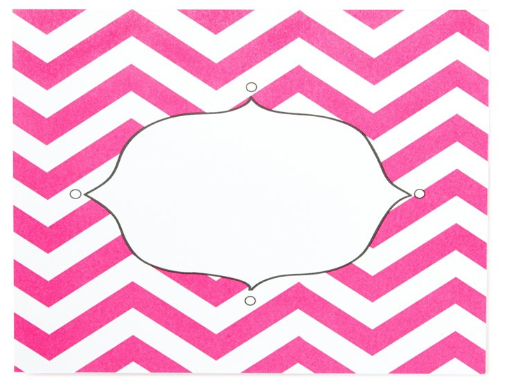Bright Pink Chevron Folded Notes