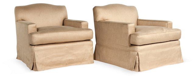 Tan Linen Chairs, Pair