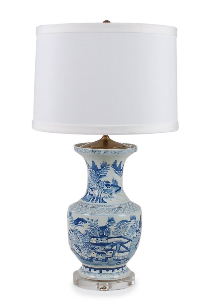 Dynasty Table Lamp, Blue/White Motif