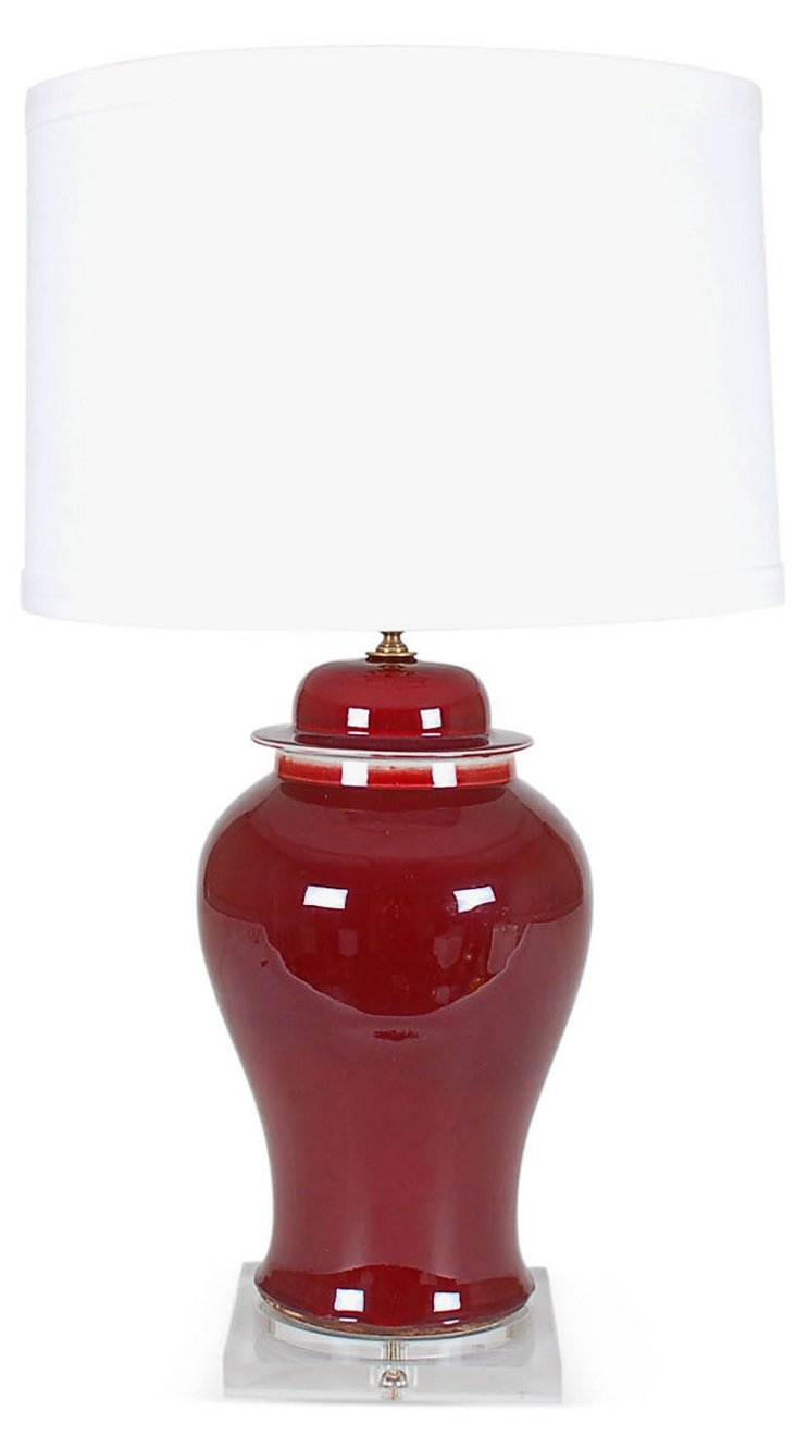 Porcelain Table Lamp, Oxblood