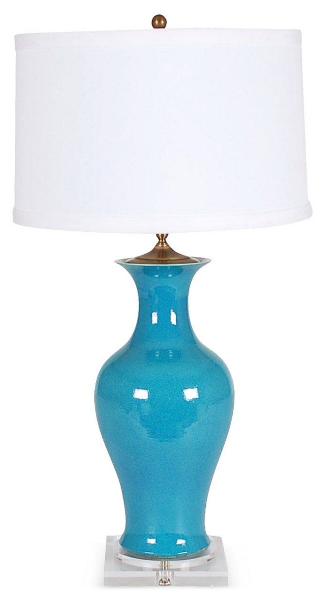 Frances Table Lamp, Turquoise