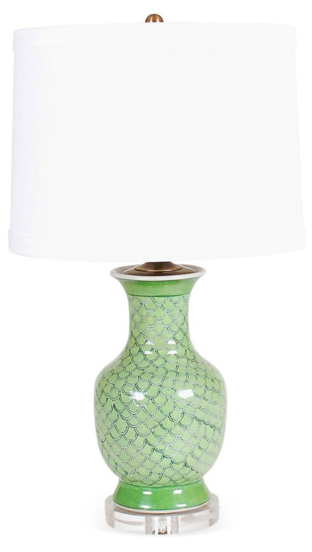 Geo Scallop Table Lamp, Green