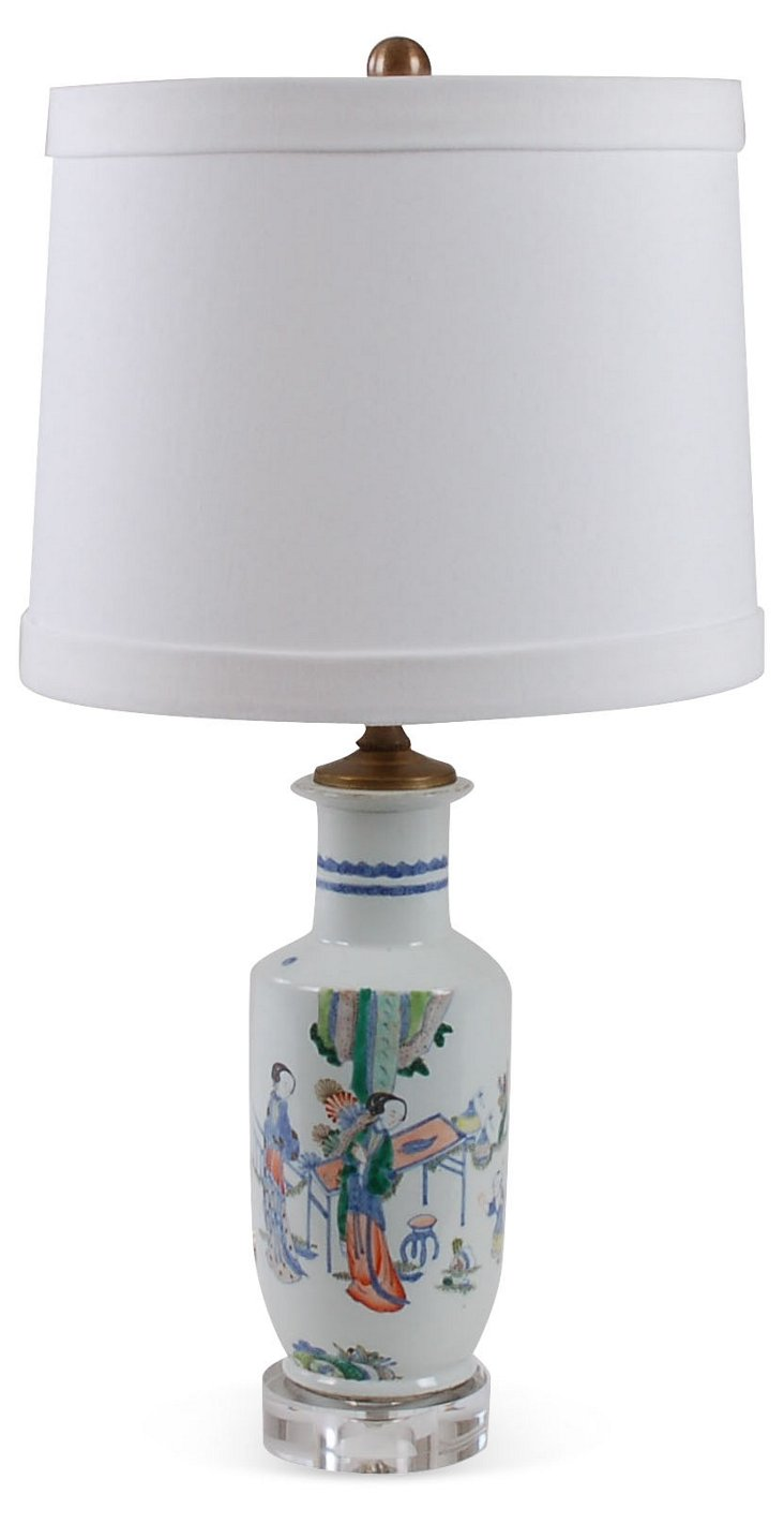 Ladies Bottle Vase Accent Lamp, White