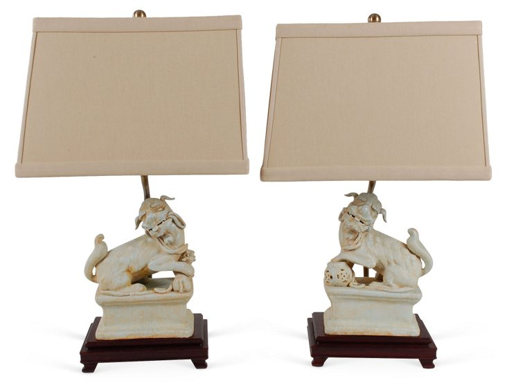 Foo Dog Table Lamp Set, Cream