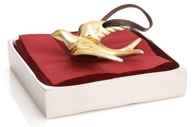 24K Gold-Plated Dove Napkin Box
