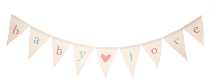 Baby Love Canvas Banner, Pink/Aqua