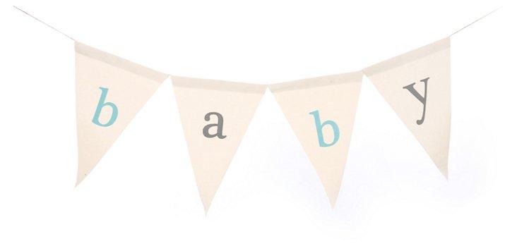 Baby Canvas Banner, Aqua/Gray