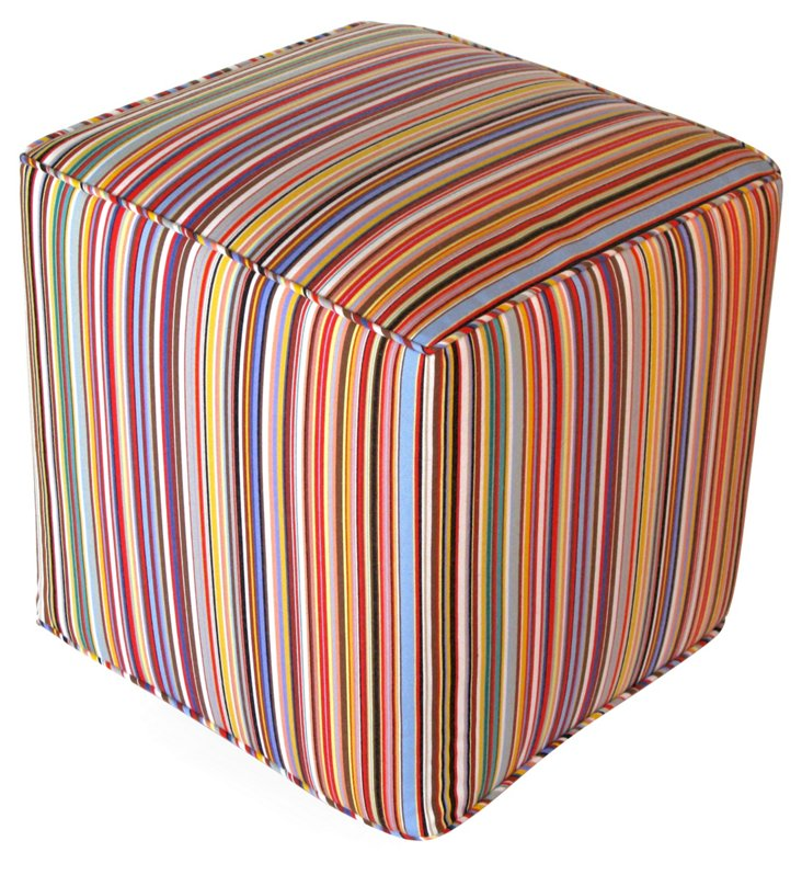 Tom Luxe Outdoor Pouf, Rainbow
