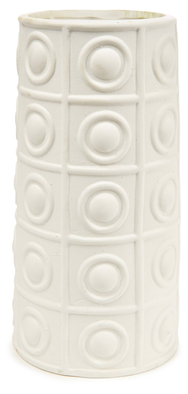 "9"" Round Deco Blanc Vase, White"