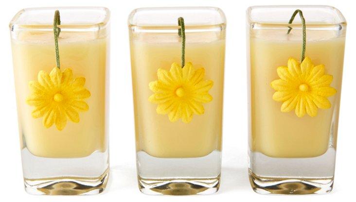 S/3 3 oz Flower Wick  Votives, Crème