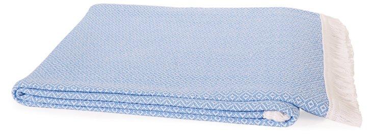 Ostrich Eye Cotton Throw, Light Blue
