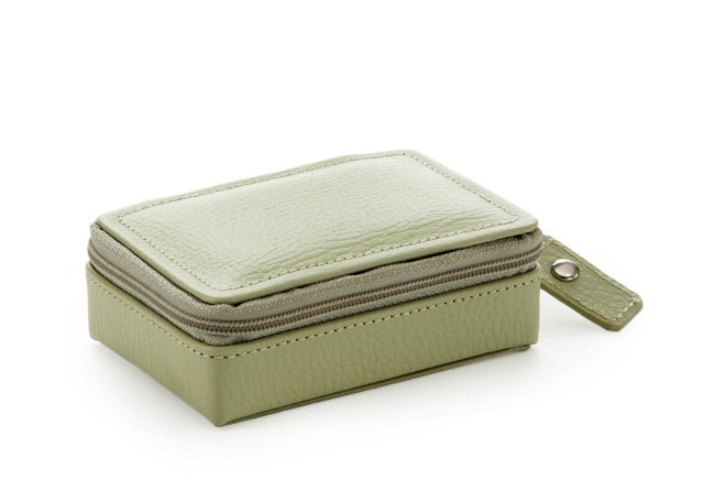 Vicky Leather Zip Jewelry Case, Green