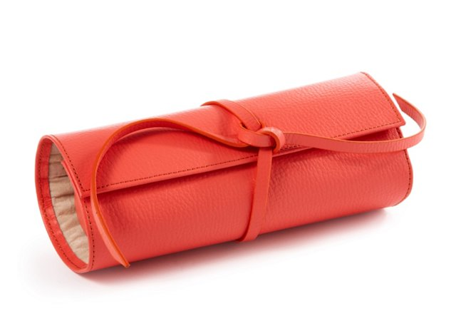 Leather Jewelry Roll, Coral