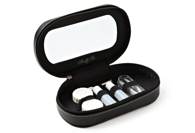 Leather Lens Case Holder, Black