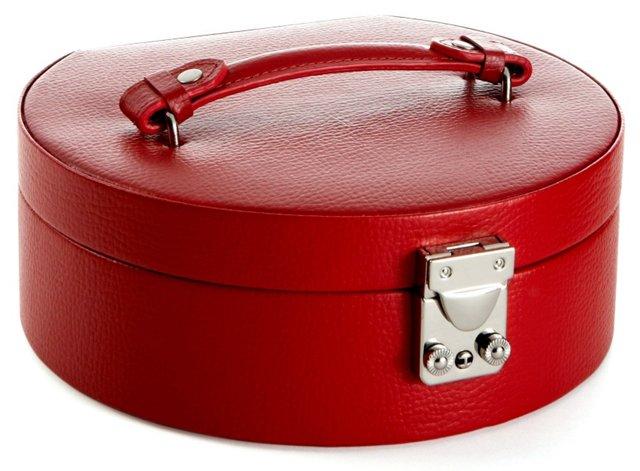 Linda Leather Jewelry Box, Red