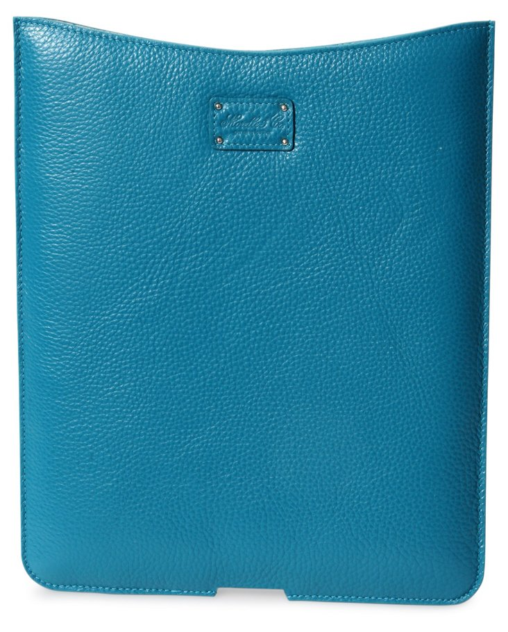 Top Grain Blue Leather iPad Holder