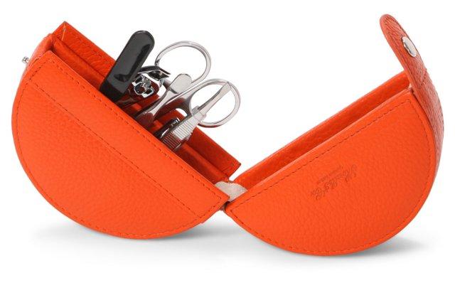 Leather Round Manicure Set, Orange