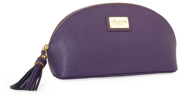 Miriam Leather Cosmetic Bag, Purple