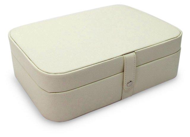 Kimberly Leather Jewelry Box, Cream