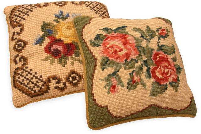 Cross Stitched Cushions, Set of 2