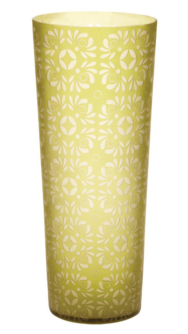 Kiwi Etched Vase