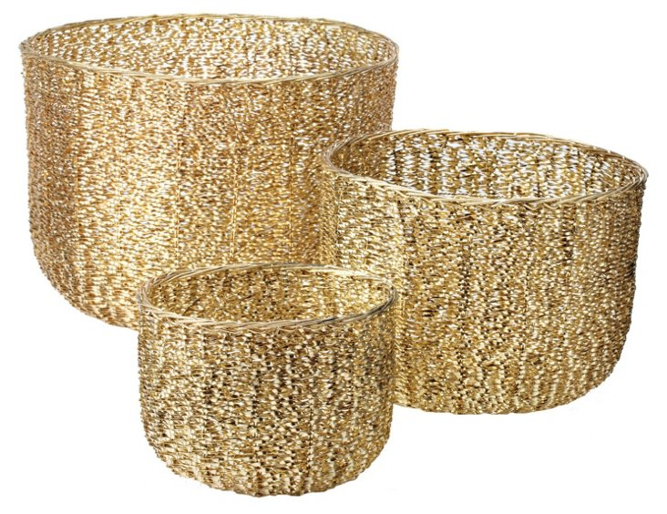 S/3 Brass Twisted Wire Tubs