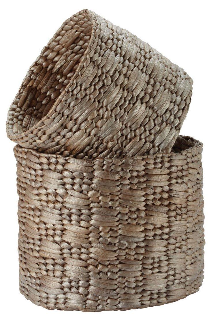 S/2 Metallic Water Hyacinth Baskets
