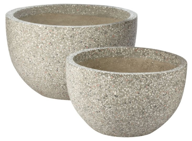 Dapple Gray Terrazzo Pots, Asst. of 2