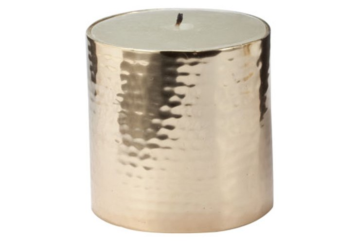 Gold Hammered Pillar Candle, Small