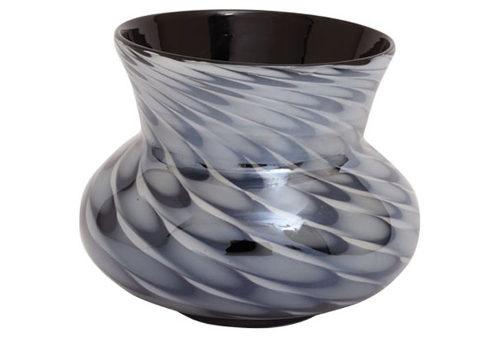 "7"" Black Feathered Vase"