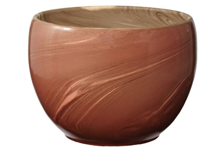 "10"" Heartwood Red Swirled Clay Pot"