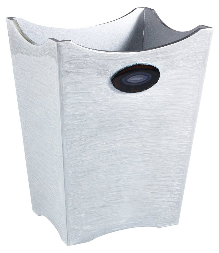 Agate Wastebasket, Silver