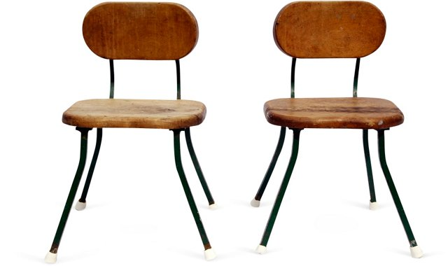 1960s Classroom Chairs, Pair