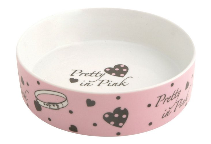 Set of 2 Pretty in Pink Cat Bowls, Pink