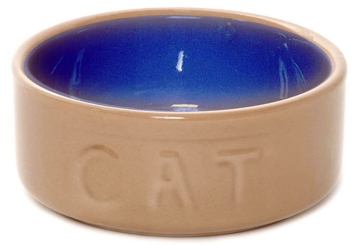 S/2 Small Cat Bowls, Cane/Blue